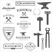 Collection of logo, elements and logotypes for blacksmith and shop — Stock Vector