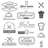 Set of logo and logotype elements for restaurant, cafe and bar — Stock Vector