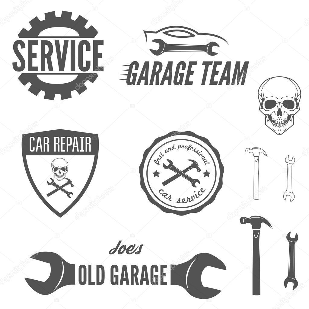 De la insignia insignia emblema y logotipo elemento for Logos de garajes