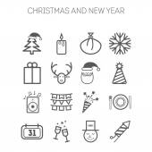 Set of simple icons for New Year and Christmas — Stock Vector