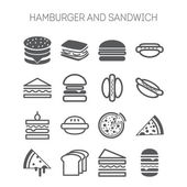 Set of simple icons with hamburgers, sandwiches and pizza for web design, sites, menu, restaurants, applications and stickers — Vecteur
