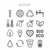 Set of simple monochromatic ecology icons — Stock Vector