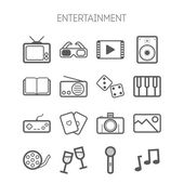 Set of simple monochromatic entertainment icons — Stock Vector
