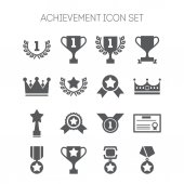 Set of simple achievement icons for web design, sites, applications, stickers and games — Stock Vector