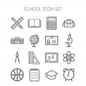Set of simple icons for school and education — Stockvektor