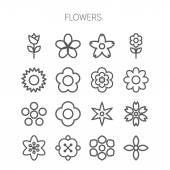 Simple monochromatic flower icon set — Stock Vector