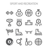 Set of monochromatic simple sports icons — Stock Vector