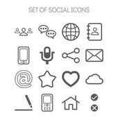 Set of simple social monochromatic icons — Stock Vector