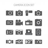 Set of simple icons with cameras for web design, sites, applications and games — Stock Vector