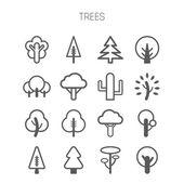 Set of simple monochromatic tree icons — Stock Vector