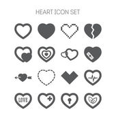 Set of simple icons with heart for Valentine day, web design, sites, applications, games and stickers — Stock Vector