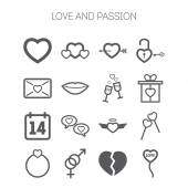Set of simple love icons for Saint Valentine Day — Stock Vector