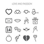 Conjunto de ícones simples de amor para dia dos namorados de Santo — Vetor de Stock