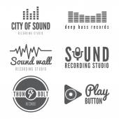 Set of logo, badge,label, sticker, emblem, print or logotype elements for sound recording studio, t-shirt or sound production — Stock Vector