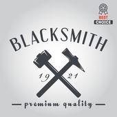 Logo for blacksmith, typographic logotype,  badge, emblem, label — Stock Vector