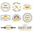 Set of vintage bakery logos, labels, badges and design elements — Stock Vector #68726569