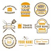 Set of logo, labels, stickers and logotype elements for fast food restaurant, cafe, hamburger and burger — Stock Vector
