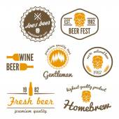 Set of vintage logo, badge, emblem or logotype elements for beer, beer shop, home brew, tavern, bar, cafe and restaurant — Stock Vector