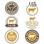 Set of vintage labels, logo, emblem templates for milk — Stock Vector #76673669