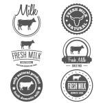 Set of vintage labels, logo, emblem templates for milk — Stock Vector #76673677