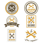 Set of vintage mechanic labels, emblems and logo. Vector illustration — Stock Vector