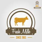 Vintage label, logo, emblem template of milk on background — Stock Vector