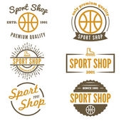 Set of vintage logo, badge, emblem or logotype elements for sport shop — Stock Vector