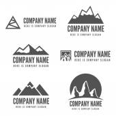 Logo, badge, label, logotype elements with mountains for web, business or other projects — Stock Vector