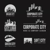 Logo, badge, label, logotype elements with buildings for web, business or other projects — Stock Vector