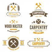 Set of logo, label, badge and logotype elements for sawmill, carpentry or woodworkers — Stock Vector