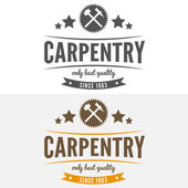 Vintage logo, label, badge and logotype elements for sawmill, carpentry or woodworkers — Stock Vector