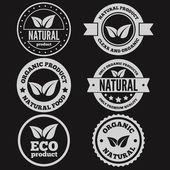 Set of vintage logo, label, badge, logotype elements for organic,  natural companies, corporates, cosmetics and food — Stock Vector