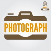 Logo, emblem, print, sticker, label and logotype elements for studio or photographer, photograph — Stock Vector