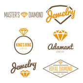 Set of logo, emblem, label, print, sticker or logotype elements for jewelry — Stock Vector