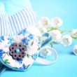 Gentle blue the background fabric heart Lily of the valley selective soft focus toned photo love tree Valentine — Stock Photo #74251071