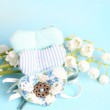 Gentle blue the background fabric heart Lily of the valley selective soft focus toned photo love tree Valentine — Fotografia Stock  #74251173