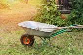 Garden tools rakes trolley summer spring — Stock Photo
