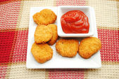 Catsup Served with Chicken or Fish Nuggets — Stock Photo