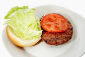 Grilled Burger with Fresh Lettuce and Tomato — Stockfoto