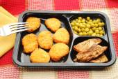 Chicken or Fish Nugget Micowaved Dinner Served — Stock Photo