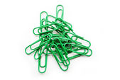 Bright Green Paper Clips Over a White Background — Stockfoto