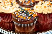 Chocolate Frosted Halloween Cupcakes — Stock Photo