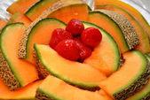 Strawberries and Cantaloupe — Stock Photo