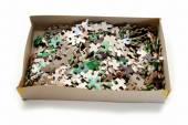 Beaucoup de pièces dans un carton Puzzle — Photo