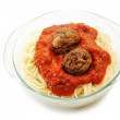 Spaghetti with Sauce and Two Meatballs — Stock Photo #55966605