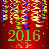 2016 Ribbon New Year with Red Background — Stock Photo