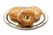 Gourmet Everything Bagels Served on a Silver Platter — Stock Photo