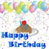 день рождения-воздушные шары и конфетти с мороженым — Стоковое фото