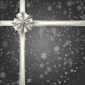 Gift of Night Snowflakes with a Silver Ribbon and Bow — Stock Photo