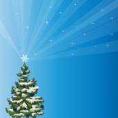 Holiday Tree with a Shining Star Over a Blue Background — Stock Photo